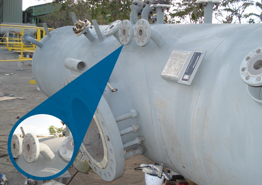 Process vessel shapes can prove difficult to coat and inspect