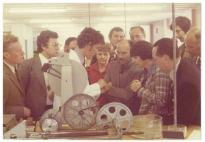 Geoff carrying out a technical demonstration, 1972