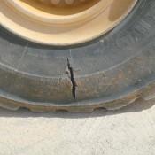 Even new off-road tyre sidewalls can develop cracks and splits from sharp