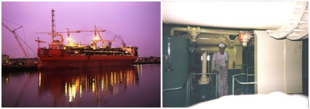 "Left: Curlew FPSO, Right: Gavin in the pump room where he first met ""Geordie"" Laws"