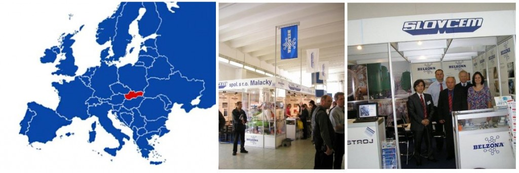 Slovakia on a map (left) Slovcem at a trade show (right)