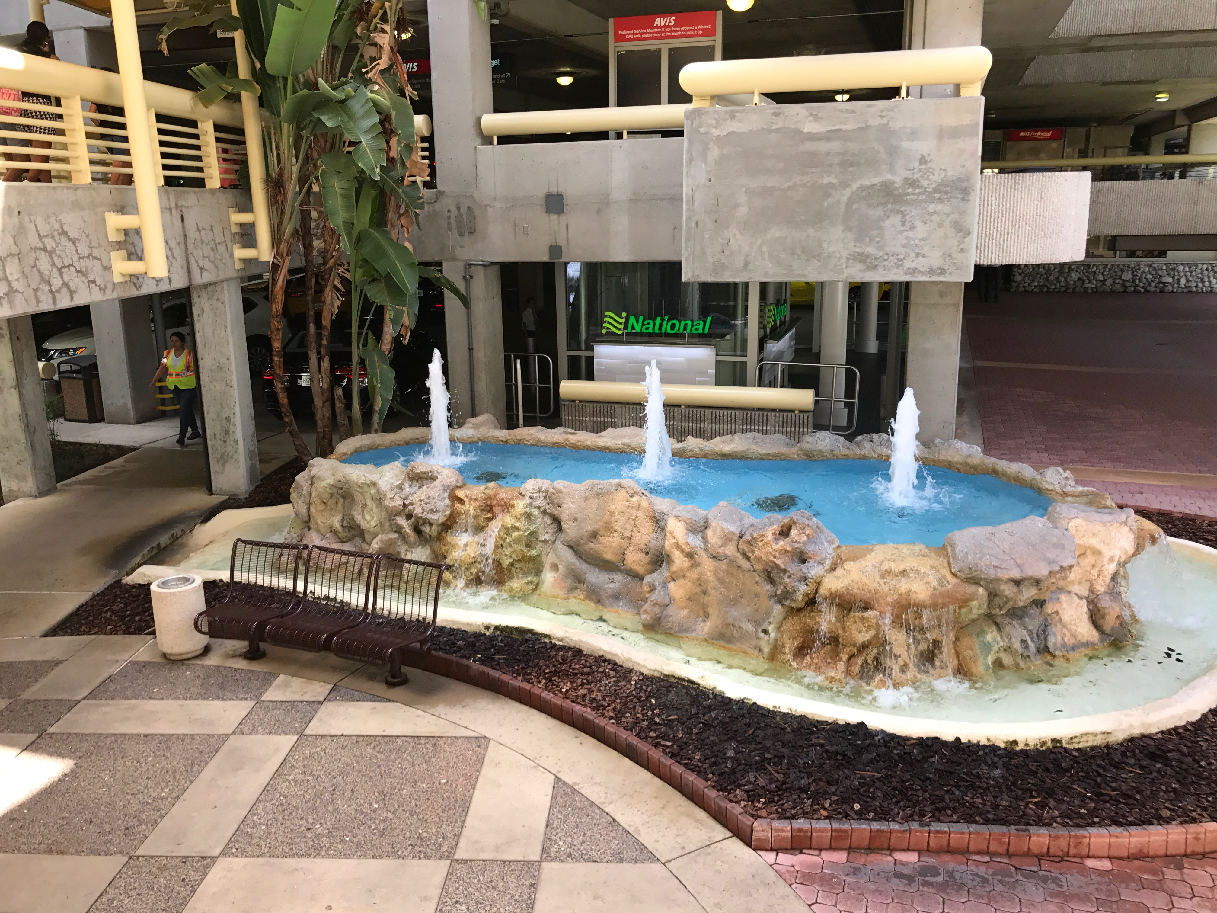 Fountain floor repaired, sealed and upgraded at an international airport - airport facilities maintenance